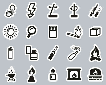 Fire & Fire Making Tools Icons Black & White Sticker Set Big