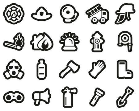 Firefighter & Firefighter Equipment Icons White On Black Sticker Set Big Banco de Imagens - 138086550
