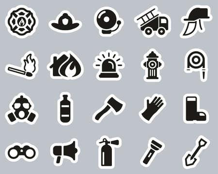 Firefighter & Firefighter Equipment Icons Black & White Sticker Set Big Ilustração