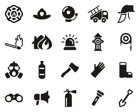 Firefighter & Firefighter Equipment Icons Black & White Set Big Banco de Imagens - 138086553