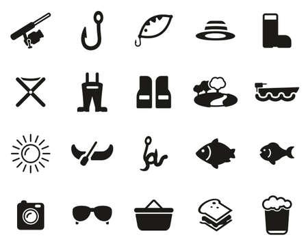 Fishing & Fishing Equipment Icons Black & White Set Big