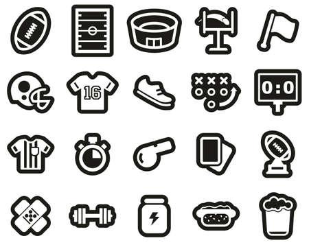 Football Or American Football Icons White On Black Sticker Set Big 矢量图像