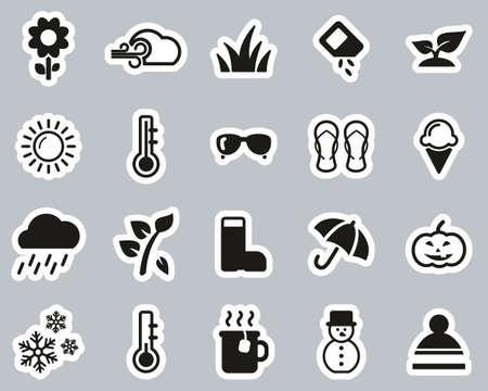 Four Seasons Icons Black & White Sticker Set Big Stock Vector - 138086675
