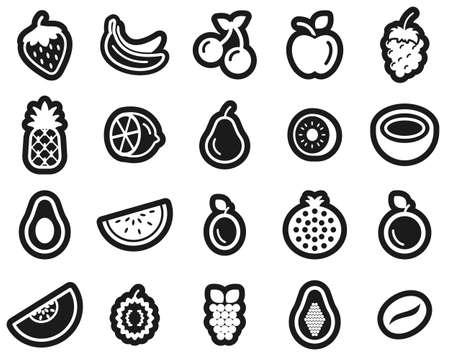 Fruit Or Fruits Icon White On Black Sticker Set Big Фото со стока - 138086718
