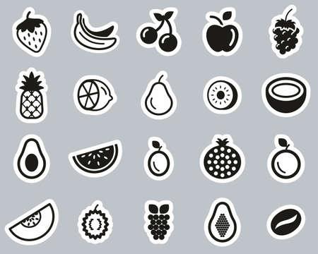Fruit Or Fruits Icon Black & White Sticker Set Big Иллюстрация