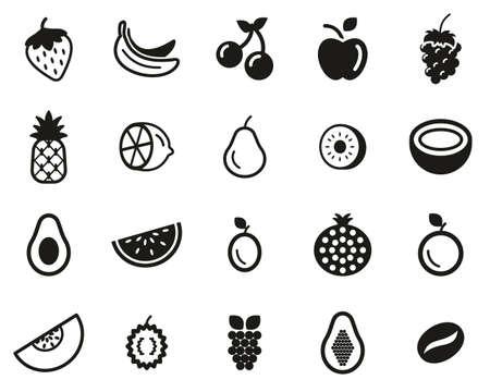 Ensemble de fruits ou d'icônes de fruits noir et blanc grand Vecteurs