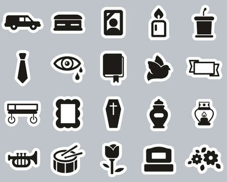 Funeral Or Funeral Ceremony Icons Black & White Sticker Set big