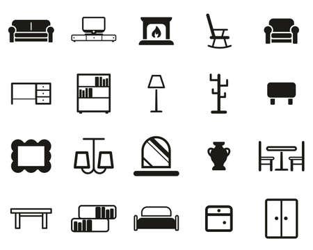 Furniture Icons Black & White Set Big