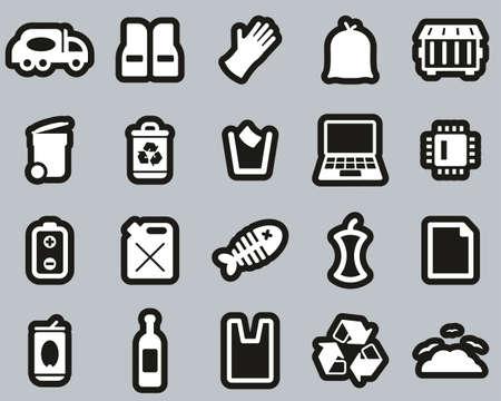 Garbageman Icons White On Black Sticker Set big
