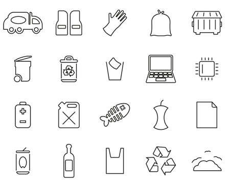 Garbageman Icons Black & White Thin Line Set big