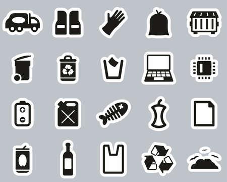 Garbageman Icons Black & White Sticker Set big