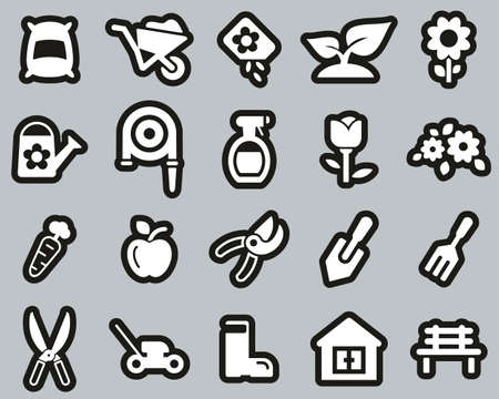 Gardening & Gardening Tools Icons White On Black Sticker Set Big Reklamní fotografie - 138086860