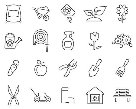 Gardening & Gardening Tools Icons Black & White Thin Line Set Big