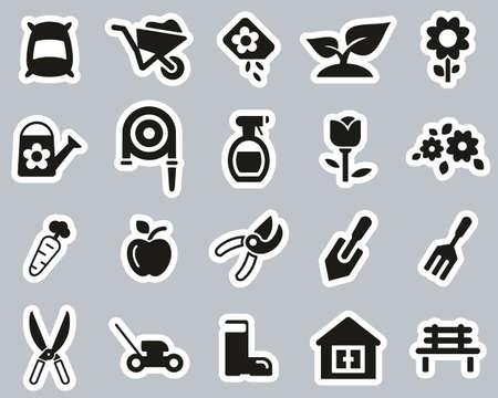 Gardening & Gardening Tools Icons Black & White Sticker Set Big Illustration