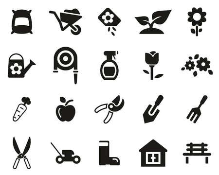 Iconos de herramientas de jardinería y jardinería conjunto en blanco y negro grande