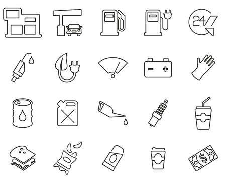 Gas Station Or Gas Pump Icons Black & White Thin Line Set Big Ilustrace