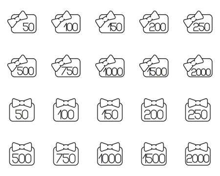 Gift Card Icons Black & White Thin Line Set Big