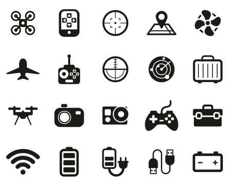 Drone Or Quadcopter Icons Black & White Set Big