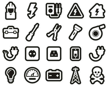 Electrician Tools & Equipment Icons White On Black Sticker Set Big