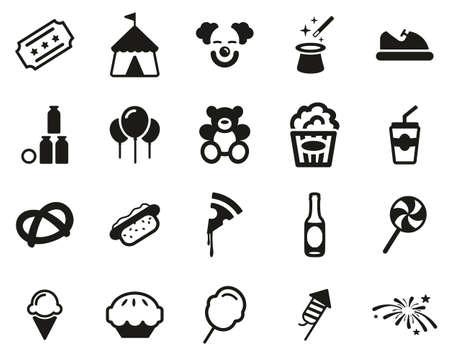 Jeu d'icônes de foire ou de carnaval noir et blanc grand