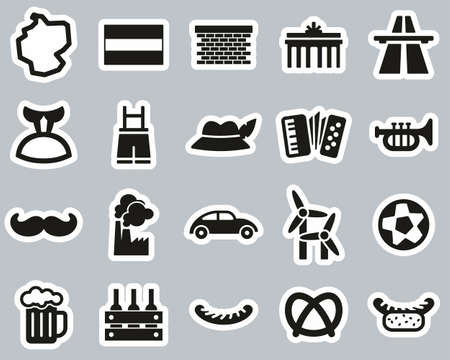 Germany Country & Culture Icons Black & White Sticker Set Big