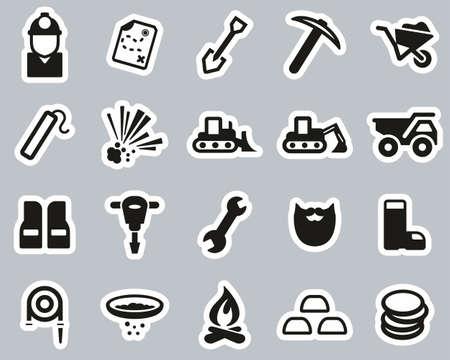 Gold Rush Or Gold Mining Icons Black & White Sticker Set Big