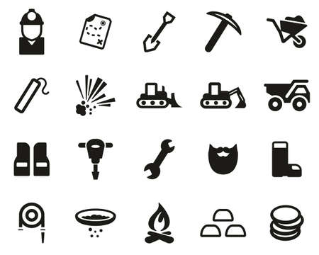 Gold Rush Or Gold Mining Icons Black & White Set Big