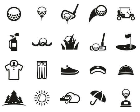 Golf Sport & Golf Equipment Icons Black & White Set big
