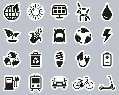 Green Energy Icons Black & White Sticker Set Big Ilustrace