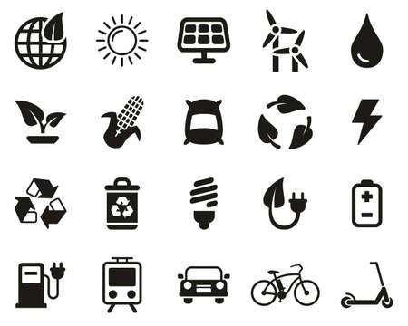 Green Energy Icons Black & White Set Big