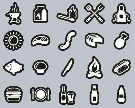 Grill Or Barbecue Icons White On Black Sticker Set Big