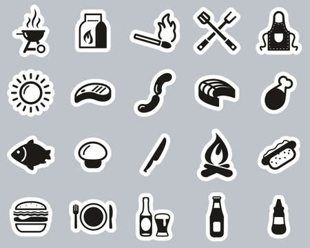 Grill Or Barbecue Icons Black & White Sticker Set Big