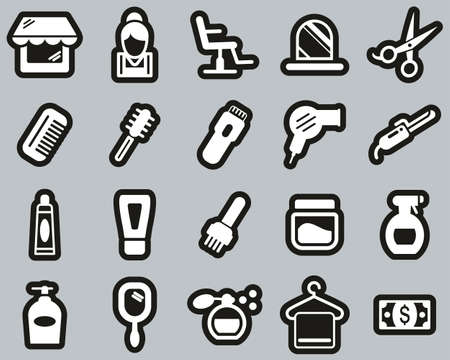 Hair Salon & Hair Salon Equipment Icons White On Black Sticker Set Big