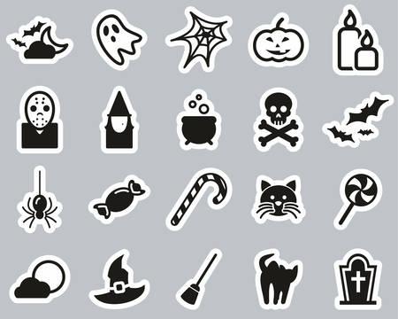 Halloween Holiday & Culture Icons Black & White Sticker Set Big Vetores