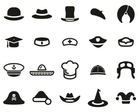 Conjunto de iconos de sombrero blanco y negro grande