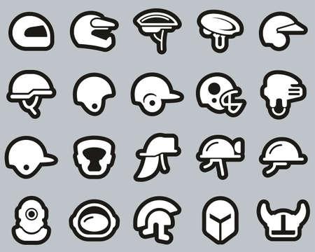 Helmet Or Safety Helmet Icons White On Black Sticker Set Big Illustration