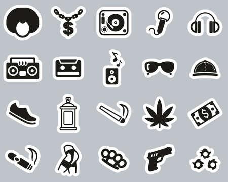 Hip Hop Culture & Fashion Icons Black & White Sticker Set Big