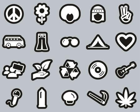 Hippie Culture & Fashion Icons White On Black Sticker Set Big