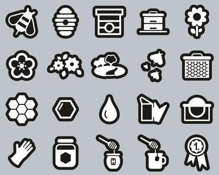Honey Making & Bee Keeping Equipment Icons White On White Sticker Set Big