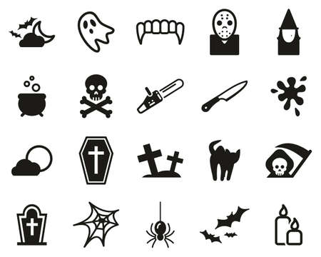Ensemble d'icônes d'horreur ou d'effrayant noir et blanc grand