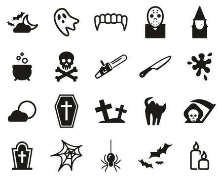 Set di icone horror o spaventose in bianco e nero grandi