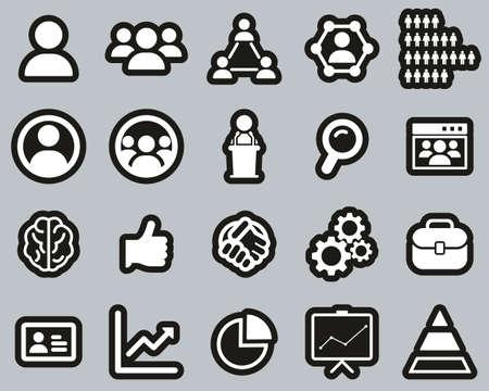 Human Resources Icons White On Black Sticker Set Big