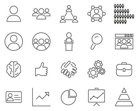 Human Resources Icons Black & White Thin Line Set Big