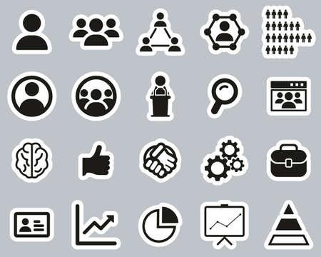 Human Resources Icons Black & White Sticker Set Big
