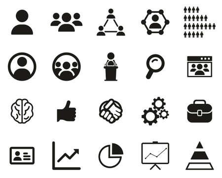 Human Resources Icons Black & White Set Big Illustration