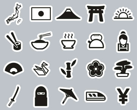 Japan Country & Culture Icons Black & White Sticker Set Big