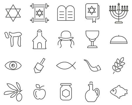 Religion & Religious Items Icons Black & White Thin Line Set Big