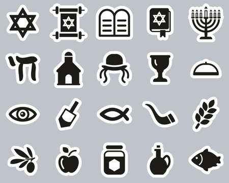 Religion & Religious Items Icons Black & White Sticker Set Big Ilustração