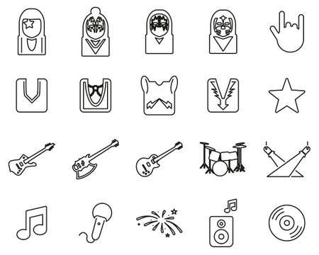 Kiss Band Icons Black & White Thin Line Set Big Banque d'images - 138782008