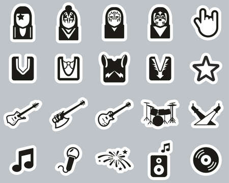 Kiss Band Icons Black & White Sticker Set Big Banque d'images - 138782006